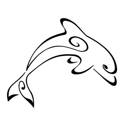 Elegant Dolphin Sample Design Water Transfer Temporary Tattoo(fake Tattoo) Stickers NO.11128