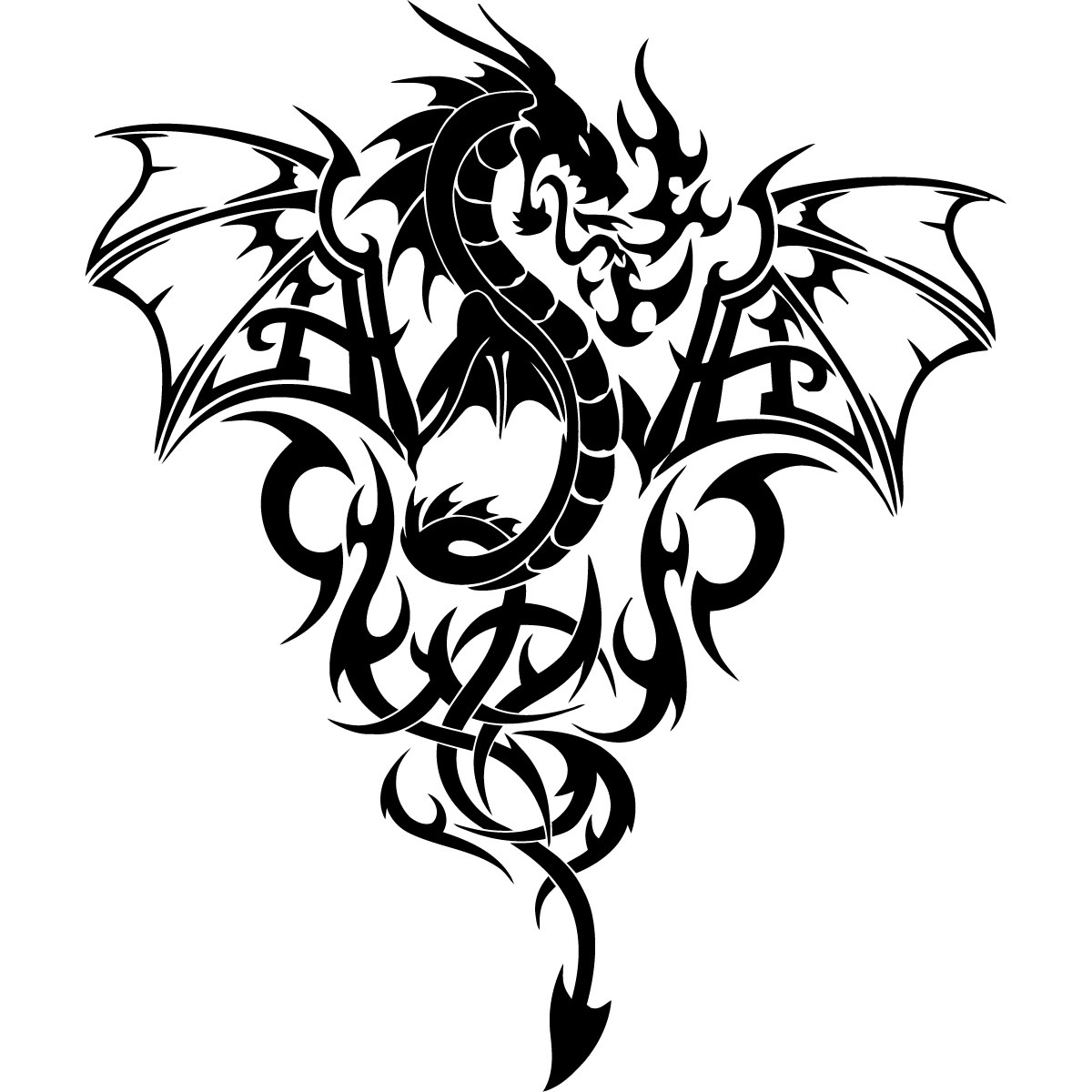 Awesome Black Dragon for Print Design Water Transfer Temporary Tattoo(fake Tattoo) Stickers NO.11136