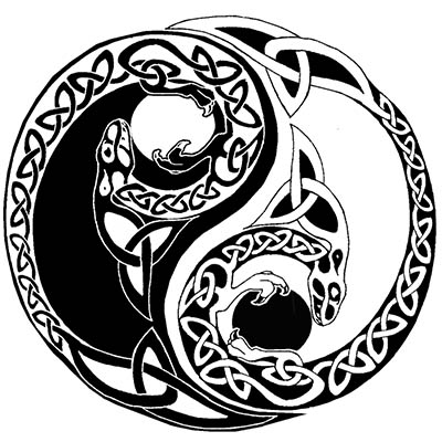 Beautiful Ying Yang Dragon Design Water Transfer Temporary Tattoo(fake Tattoo) Stickers NO.11138