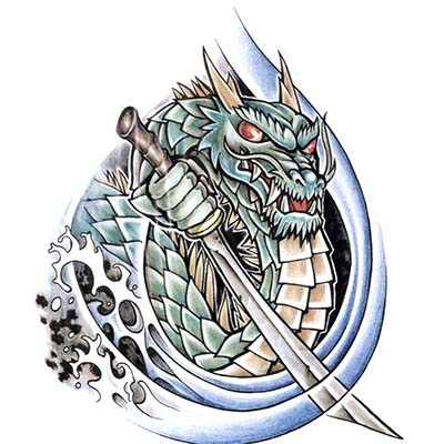 Colourful Dragon Design Water Transfer Temporary Tattoo(fake Tattoo) Stickers NO.11142