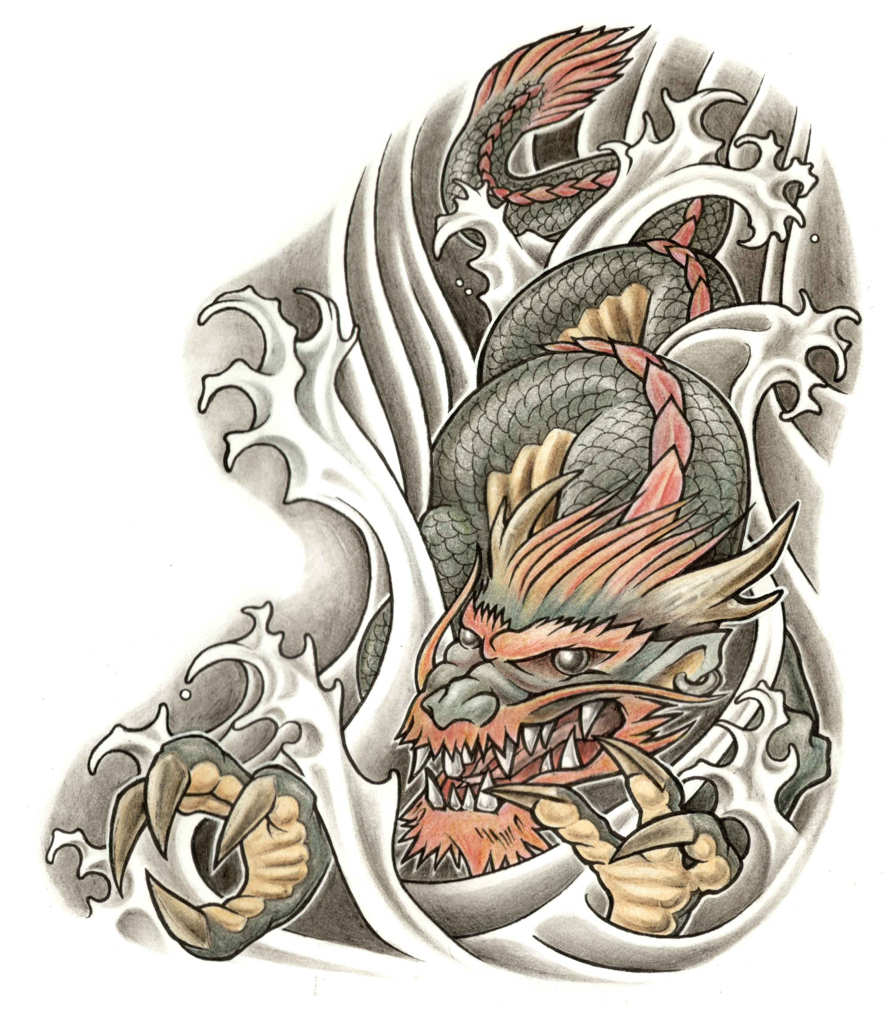Dragon Picture Design Water Transfer Temporary Tattoo(fake Tattoo) Stickers NO.11147