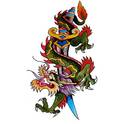 Dragon dagger Design Water Transfer Temporary Tattoo(fake Tattoo) Stickers NO.11143