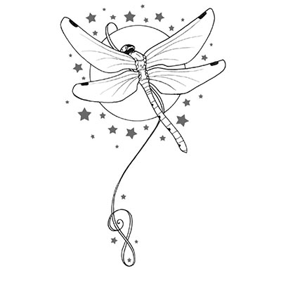 Stars And Dragonfly Design Water Transfer Temporary Tattoo(fake Tattoo) Stickers NO.11162