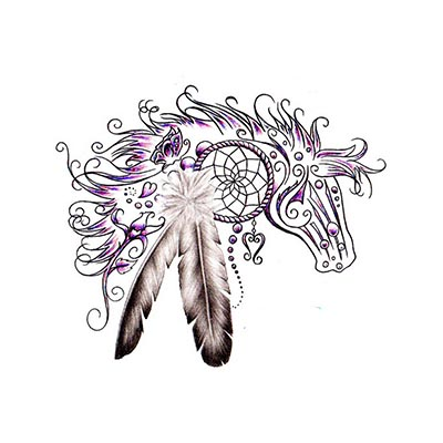 4fba1e1ac6776 Black Horse Dream Catcher Design Water Transfer Temporary Tattoo(fake Tattoo)  Stickers NO.