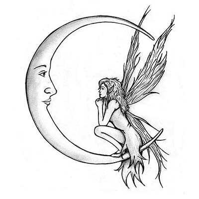Moon fairy Design Water Transfer Temporary Tattoo(fake Tattoo) Stickers NO.11198