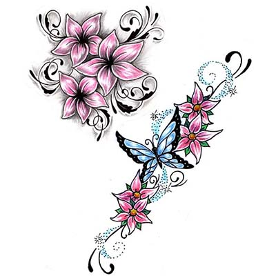 Amazing Butterfly And Flowers Design Water Transfer Temporary Tattoo(fake Tattoo) Stickers NO.11200