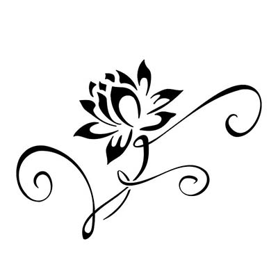 Black Tribal Lotus Design Water Transfer Temporary Tattoo(fake Tattoo) Stickers NO.11203