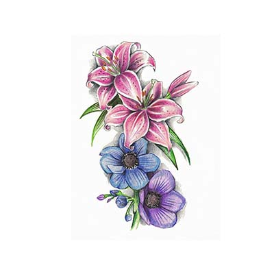Blue Flowers And Lily-Flowers Design Water Transfer Temporary Tattoo(fake Tattoo) Stickers NO.11204