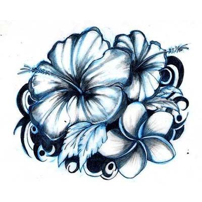 Blue Hibiscus Flowers Design Water Transfer Temporary Tattoo(fake Tattoo) Stickers NO.11205