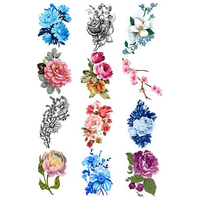 Colored Flowers Design Water Transfer Temporary Tattoo(fake Tattoo ...