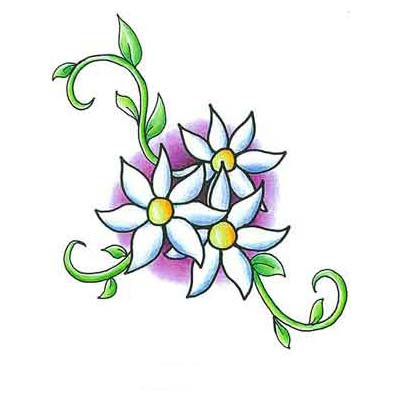 Flower Daisy Design Water Transfer Temporary Tattoo(fake Tattoo) Stickers NO.11209