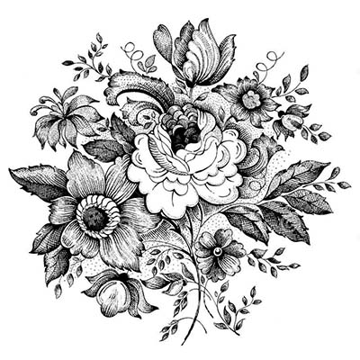 Grey And Black Flowers Design Water Transfer Temporary Tattoo(fake Tattoo) Stickers NO.11211