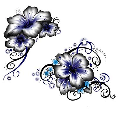 Grey And Blue Lily Flower Design Water Transfer Temporary Tattoo(fake Tattoo) Stickers NO.11212