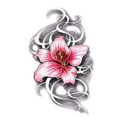 Lily Flower Design Sample Water Transfer Temporary Tattoo(fake Tattoo) Stickers NO.11217