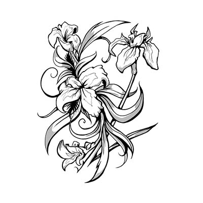 Lily Flower Design Water Transfer Temporary Tattoo(fake Tattoo) Stickers NO.11216