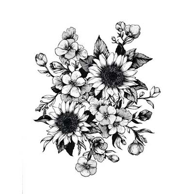 Nice Flowers Design Stencil Water Transfer Temporary Tattoo(fake Tattoo) Stickers NO.11220