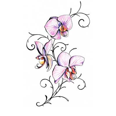Orchid Design Water Transfer Temporary Tattoo(fake Tattoo) Stickers NO.11221