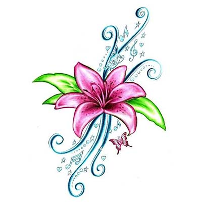 Pink Lily Flower Design Water Transfer Temporary Tattoo(fake Tattoo) Stickers NO.11222