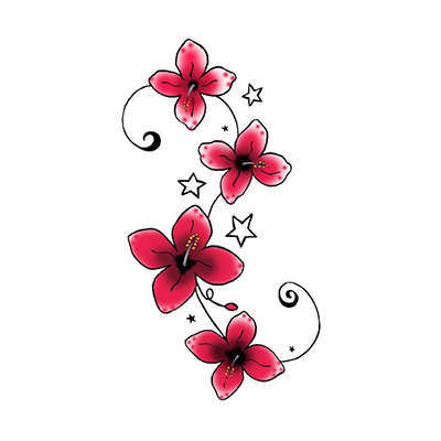 Red Flowers Design Water Transfer Temporary Tattoo(fake Tattoo) Stickers NO.11223