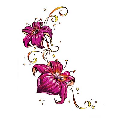 Stars And Lily Flowers Design Water Transfer Temporary Tattoo(fake Tattoo) Stickers NO.11226