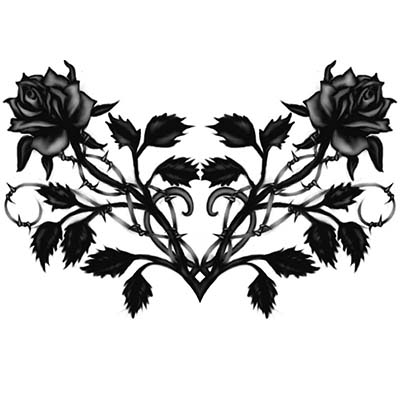 Black rose heart Design Water Transfer Temporary Tattoo(fake Tattoo) Stickers NO.11232