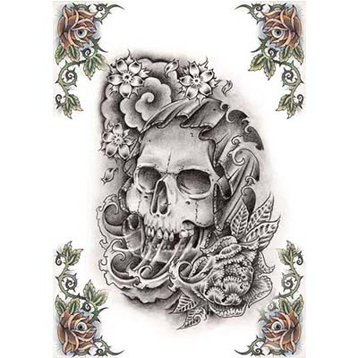Gothic Deer Skull Design For Men Design Water Transfer Temporary Tattoo(fake Tattoo) Stickers NO.11235