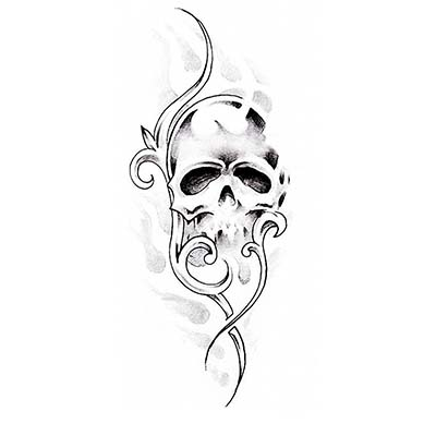 Gothic Skull tribal Design Water Transfer Temporary Tattoo(fake Tattoo) Stickers NO.11255