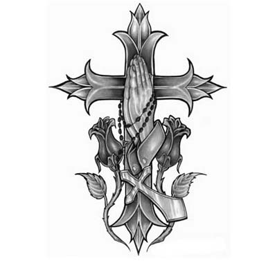 Gothic cross Design Water Transfer Temporary Tattoo(fake Tattoo) Stickers NO.11234