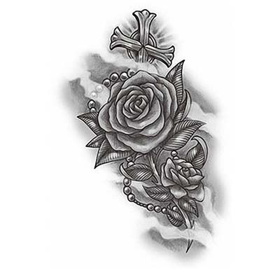 Rose rosary Design Water Transfer Temporary Tattoo(fake Tattoo) Stickers NO.11252