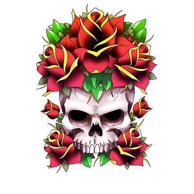 Rose skull Design Water Transfer Temporary Tattoo(fake Tattoo) Stickers NO.11253