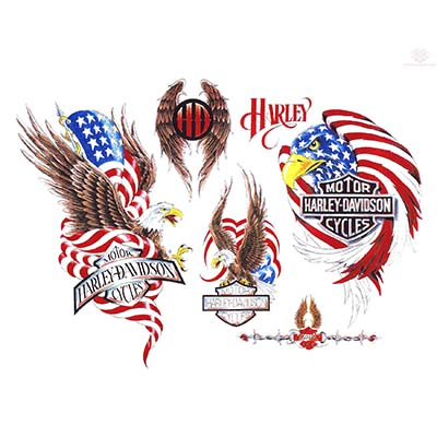 Beautiful harley davidson color designs Water Transfer Temporary Tattoo(fake Tattoo) Stickers NO.11257