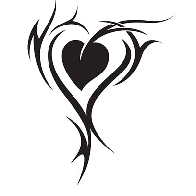Black tribal heart Design Water Transfer Temporary Tattoo(fake Tattoo) Stickers NO.11276