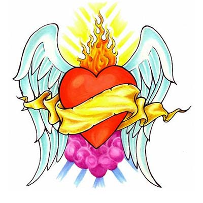Heart Wings Flames Design Water Transfer Temporary Tattoo(fake Tattoo) Stickers NO.11290