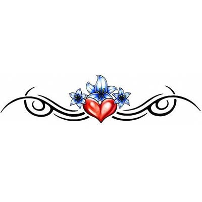 Heart flowers lower back Design Water Transfer Temporary Tattoo(fake Tattoo) Stickers NO.11284