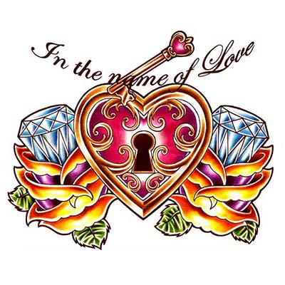 Heart lock Design Water Transfer Temporary Tattoo(fake Tattoo) Stickers NO.11285