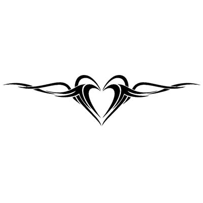 Heart lower back tribal Design Water Transfer Temporary Tattoo(fake Tattoo) Stickers NO.11286