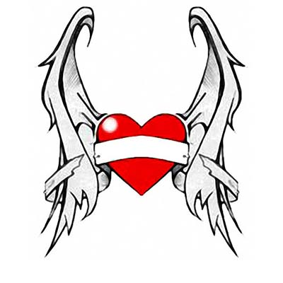 Heart wings Design Water Transfer Temporary Tattoo(fake Tattoo) Stickers NO.11292