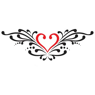 Lower back heart Design Water Transfer Temporary Tattoo(fake Tattoo) Stickers NO.11294