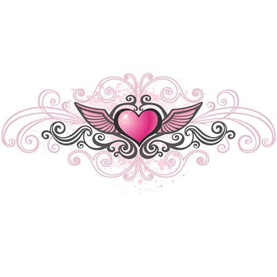 Pink heart Design Water Transfer Temporary Tattoo(fake Tattoo) Stickers NO.11297