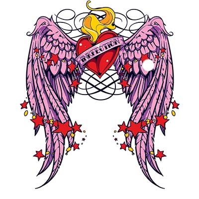 Pink winged heart Design Water Transfer Temporary Tattoo(fake Tattoo) Stickers NO.11298