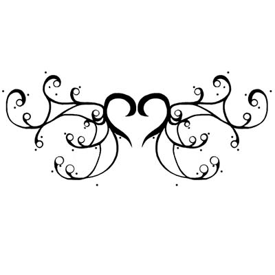 Swirly heart tribal Design Water Transfer Temporary Tattoo(fake Tattoo) Stickers NO.11302
