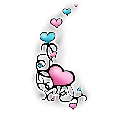 Swirly hearts Design Water Transfer Temporary Tattoo(fake Tattoo) Stickers NO.11301