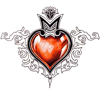 Tribal heart Design Water Transfer Temporary Tattoo(fake Tattoo) Stickers NO.11308