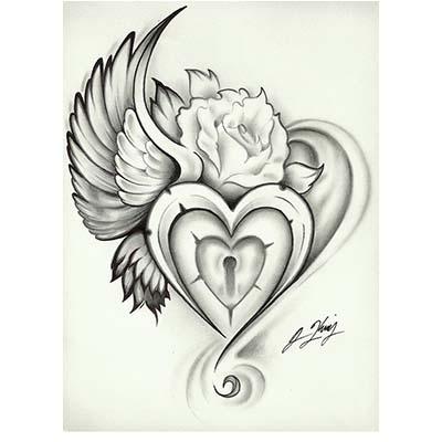 winged heart lock design water transfer temporary tattoo fake tattoo