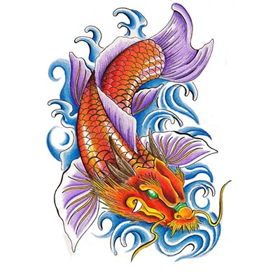 Dragon koi Design Water Transfer Temporary Tattoo(fake Tattoo) Stickers NO.11322