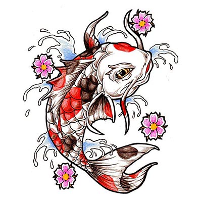 Koi Fish Design Water Transfer Temporary Tattoo(fake Tattoo) Stickers NO.11323