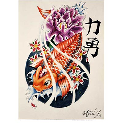 Koi Fish Design Water Transfer Temporary Tattoo(fake Tattoo) Stickers NO.11328