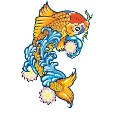 Koi Fish Design Water Transfer Temporary Tattoo(fake Tattoo) Stickers NO.11331