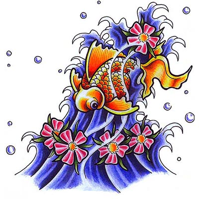 Koi Fish Design Water Transfer Temporary Tattoo(fake Tattoo) Stickers NO.11332