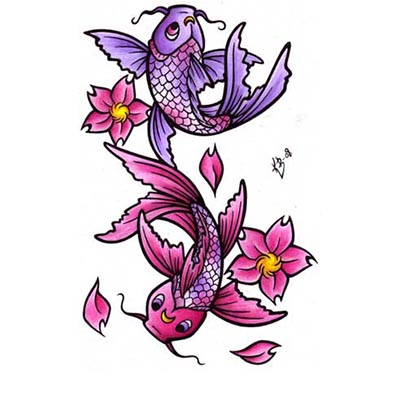 Koi Fish Design Water Transfer Temporary Tattoo(fake Tattoo) Stickers NO.11333